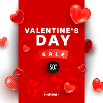 Saldi di san valentino con decorazioni e nastro di forme d'amore 3d