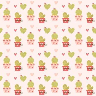 Amore di cactus e cuori senza cuciture di san valentino. biglietto di auguri o invito in stile alla moda. Vettore Premium