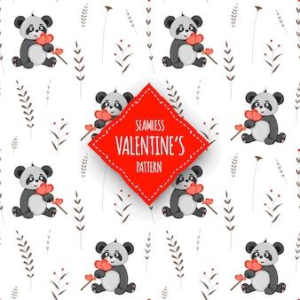 Modello senza cuciture di san valentino. stile cartone animato. illustrazione vettoriale.