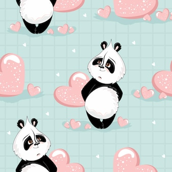Modello senza cuciture di san valentino. panda romantico con elementi festivi.