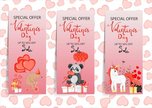 Set di carte sconto per san valentino. stile cartone animato. illustrazione vettoriale.