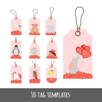 Set di etichette per le vacanze di san valentino con simpatici animali.