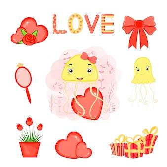 Set di oggetti per le vacanze di san valentino. stile cartone animato.