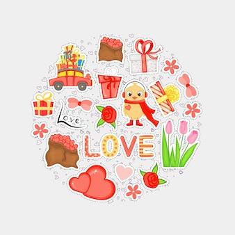Set di adesivi per le vacanze di san valentino. stile cartone animato. illustrazione vettoriale.