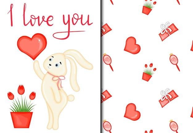 Set di motivi e cartoline per san valentino con un simpatico coniglietto. stile cartone animato. illustrazione vettoriale.