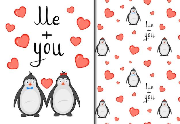 San valentino set di pattern e cartoline con simpatici pinguini. stile cartone animato. illustrazione vettoriale.