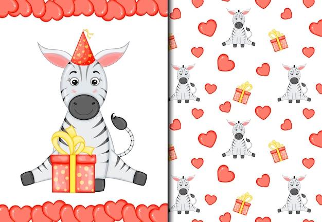 San valentino set di pattern e cartoline con zebra carina. stile cartone animato. illustrazione vettoriale.