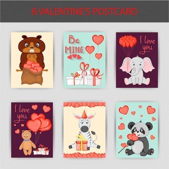 Set di cartoline di san valentino. stile cartone animato. illustrazione vettoriale.