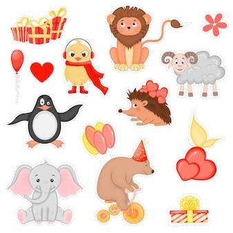 Set di adesivi di san valentino per la progettazione di cartoline o adesivi. stile cartone animato. illustrazione vettoriale.
