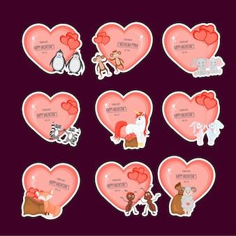 Set di adesivi di san valentino con cuori e simpatici animali. stile cartone animato.