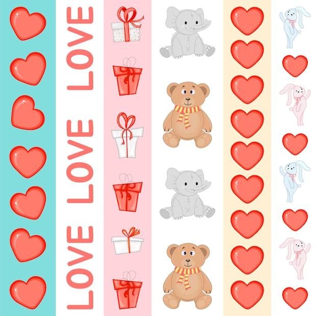 Set di nastri di san valentino. stile cartone animato. illustrazione vettoriale.