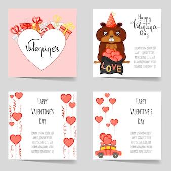 Set di modelli di san valentino. stile cartone animato. illustrazione vettoriale.