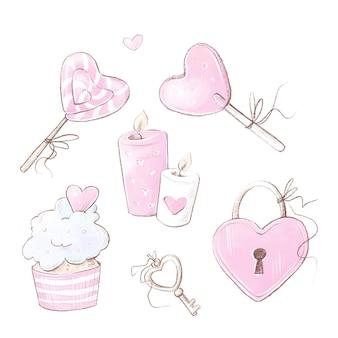 Set di san valentino. illustrazione dell'acquerello.