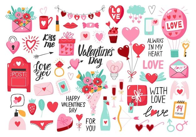 Set di san valentino con cuore e altri elementi