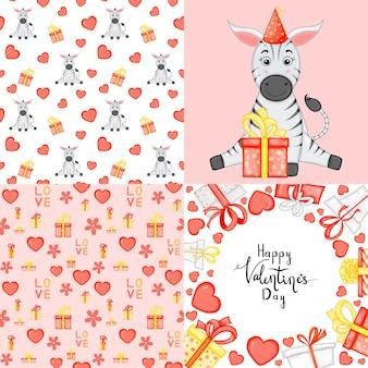 Set di san valentino con cartolina, motivo e modello. stile cartone animato. illustrazione vettoriale.