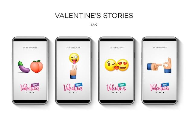 Modello di storie di san valentino, illustrazione vettoriale.