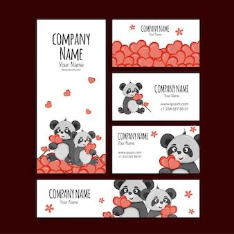 Modello di san valentino per il testo con panda carini. stile cartone animato. illustrazione vettoriale.