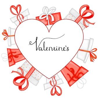 Modello di san valentino con cuore. stile cartone animato. illustrazione vettoriale.
