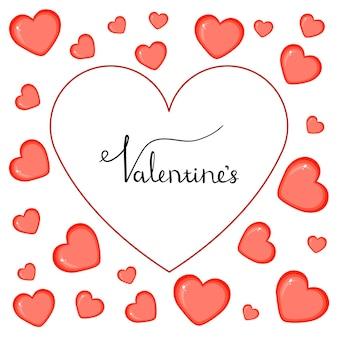 Modello di san valentino con cuori. stile cartone animato. illustrazione vettoriale.