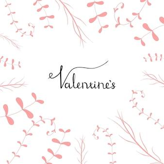 Modello di san valentino con piante. stile cartone animato. illustrazione vettoriale.