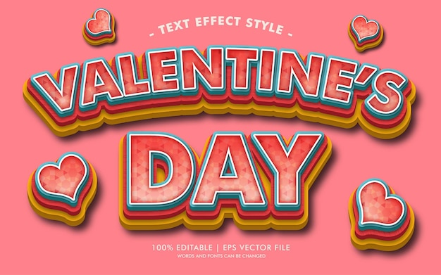 Stile di effetti del testo di san valentino