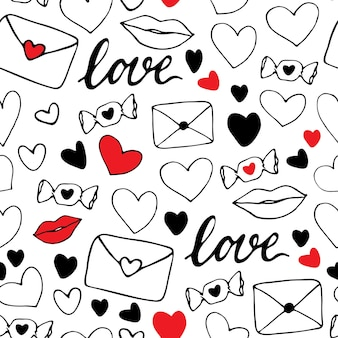 Reticolo senza giunte di san valentino. cuori, labbra, caramelle, lettere d'amore. tema d'amore