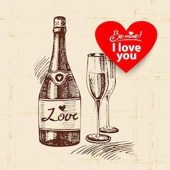 Sfondo vintage di san valentino. illustrazione disegnata a mano con banner a forma di cuore. champagne e bicchiere di vino