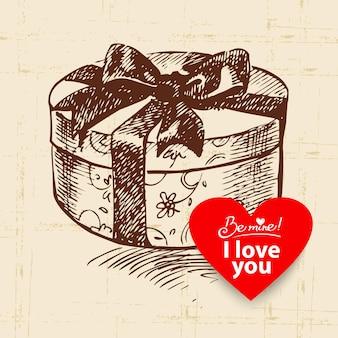 Sfondo vintage di san valentino. illustrazione disegnata a mano con banner a forma di cuore. pacco regalo