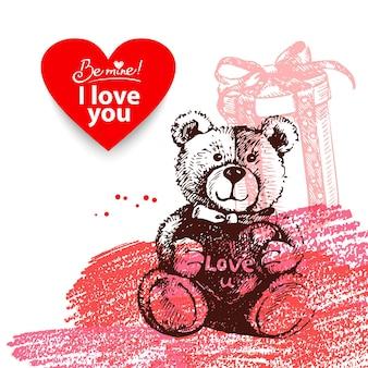 Sfondo vintage di san valentino. illustrazione disegnata a mano con banner a forma di cuore.
