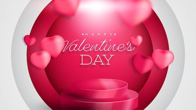 San valentino con forma realistica del focolare 3d