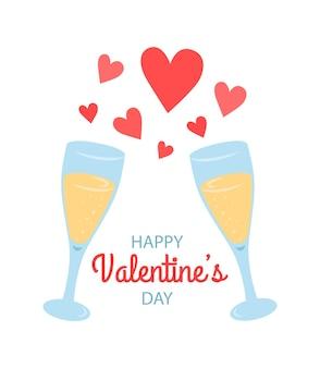 San valentino con bicchieri di champagne e cuori, illustrazione disegnata a mano.