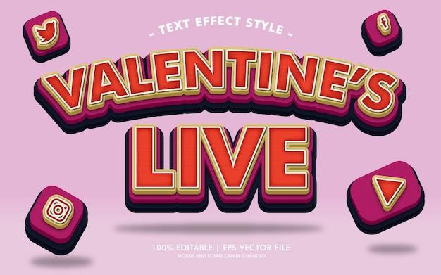 Lo stile degli effetti del testo in diretta di san valentino