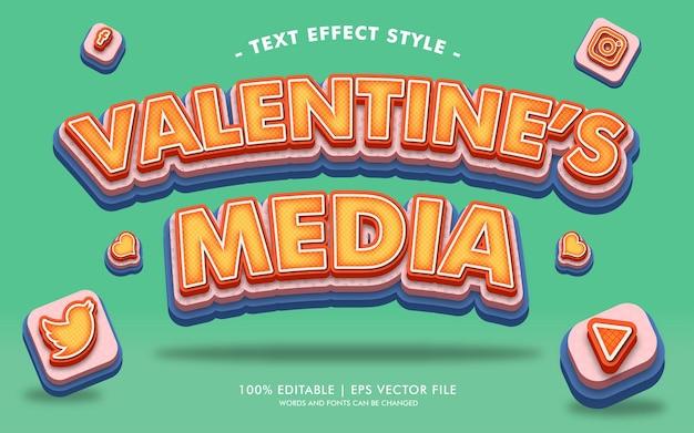Stile di effetti del testo dei media di san valentino