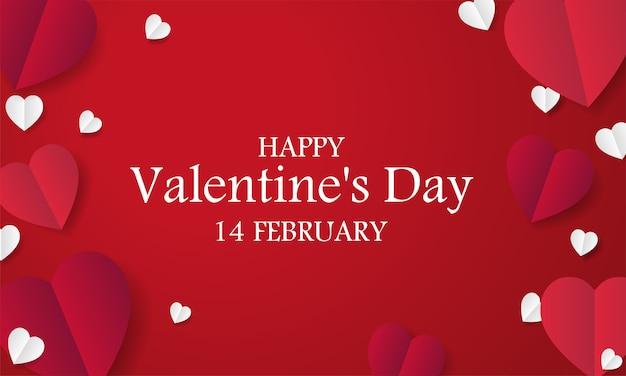 Sfondo festa di san valentino con sfondo di cuori di carta rossa
