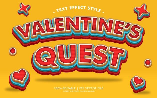 Valentine's quest testo effetti stile