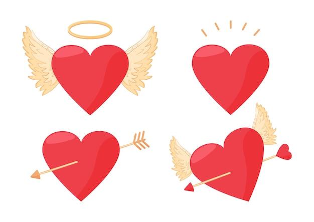 Set di san valentino. cuori, ali d'angelo, cuore trafitto da freccia. illustrazione di vacanza
