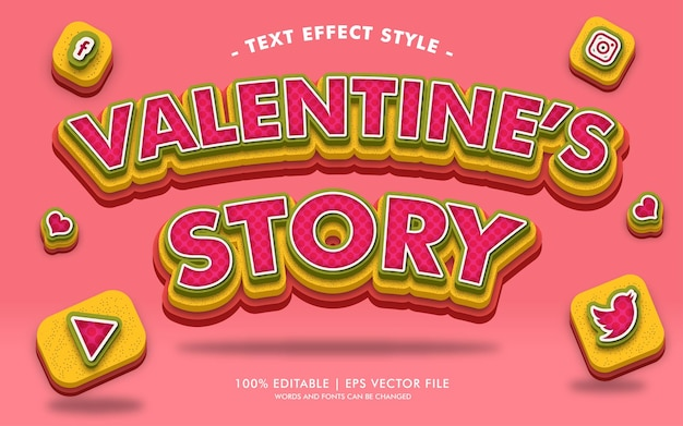 Stile di effetti del testo della storia di san valentino