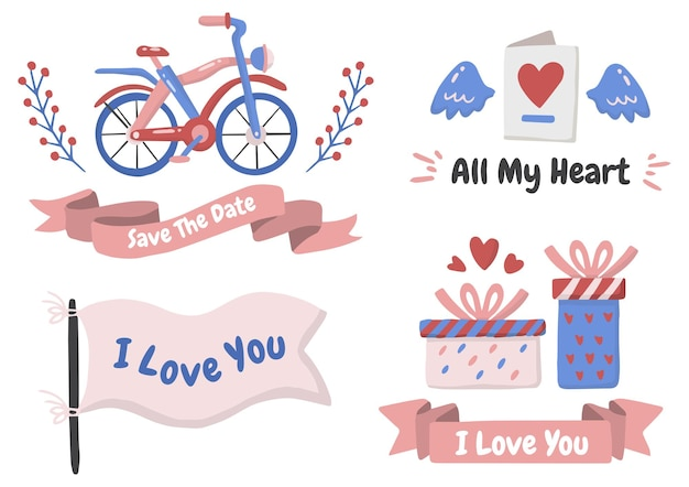 Set di temi di san valentino
