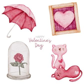 Collezione di elementi dell'acquerello di san valentino
