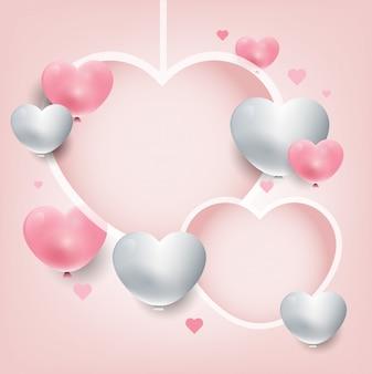 Cuori d'attaccatura del fondo del giorno di san valentino. cuori 3d rosa e bianchi. banner di promozione dolce