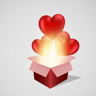 Cuori di san valentino 3d con cartolina scatola regalo. palloncini realistici su sfondo bianco.