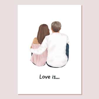 Valentines card couple in love boyfriend and girlfriend