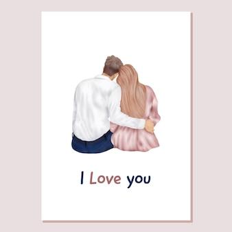 Carta di san valentino amore coppia, uomo e donna seduta