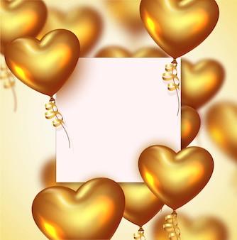 Sfondo di san valentino o anniversario con palloncini cuore d'oro realistici