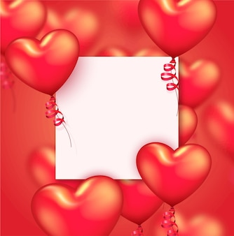Sfondo di san valentino o anniversario con palloncini cuore rosso realistici