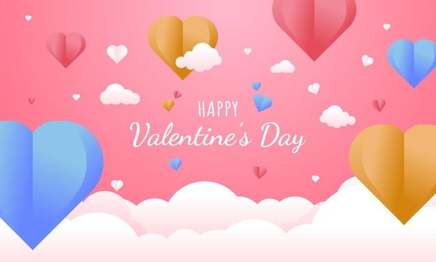 Concetto di sfondo di san valentino in stile carta