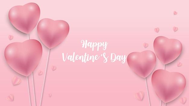 Fondo di giorno di biglietti di s. valentino con il modello dell'icona dei cuori. cuori di san valentino su sfondo rosa galleggiante con auguri di san valentino felice. illustrazione di vettore