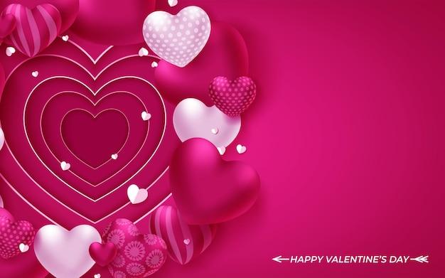 Fondo di giorno di biglietti di s. valentino con i cuori sul rosa