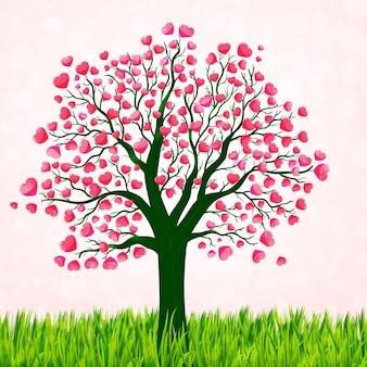 Fondo di giorno di biglietti di s. valentino con l'albero di amore