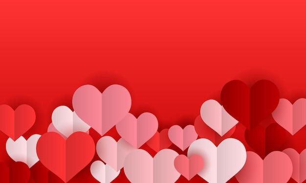 Sfondo di san valentino con cuori di carta. illustrazione vettoriale. modello per il tuo banner.